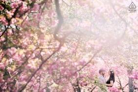NY Engagement Shoot - Les cerisiers en fleurs dans le jardin botanique de Brooklyn sont toujours un moment spectaculaire pour photographier l'amour des couples.