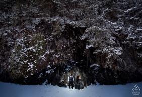 Interlaken, Switzerland Snowy Evening Pre-Wedding Engagement Photograph