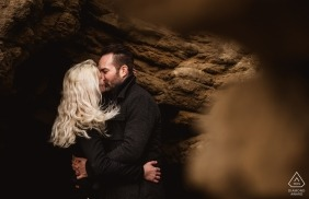 Saunton Sands, Devon Pre-Wedding Engagement Photography - A cuddle in a cave