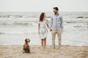 Pre-wedding photoshoot of a couple holding hands on the beach as their dog sits in front of them in Kocaeli, Turkey.