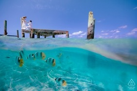 In this Bahama's engagement photo shoot, a couple posing on the dock get photo bombed by a school of colorful fish hiding just below the waves