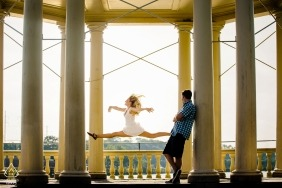 "The Waterworks Philadelphia Engagement Photographer: ""Bride said she did gymnastics so we said let's see. Click."""