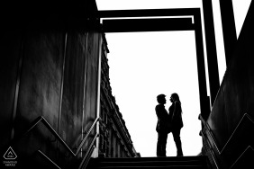 Covent Garden, London Tube Station engagement photo shoot in black and white
