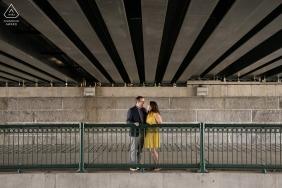 Cambridge, Massachusetts Engagement Portraits | Wide shot under bridge