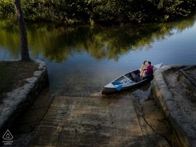 Fort Myers Florida Engagement Photography - Couple Fun in a Canoe