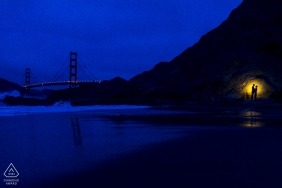 baker beach san francisco engagement shoot at night with a light