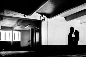 Agen, France Engagement portrait session in shadows