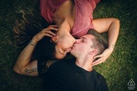 Trasimeno Lake, Italy Engagement Photoshoot - On the Grass, Love under the rain