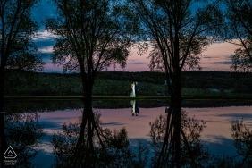 Sunset reflection engagement portrait at Alyson's Orchard, Walpole, NH