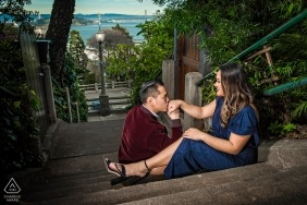 Engagement portrait on a secret staircase bordering the private entrances of Telegraph Hill's exquisite homes in San Francisco.