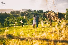 A couple stands with a horse in a sunny field in Alvito, France in this engagement photo by a Lazio photographer.