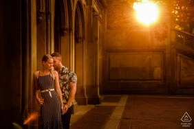 Couple's portrait in Central Park by NY wedding and engagement photographer