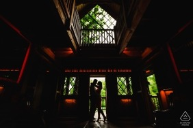 Longwood Gardens Engagement Portrait - Silhouette after coming down the stairs.