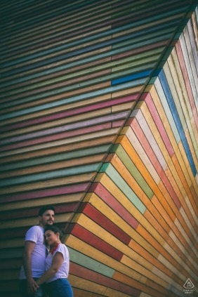 L'Aquila - Abruzzo - Italy Engagement Session with colorful painted wall.