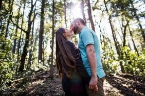 Engagement Portrait Kiss at Castle Rock State Park, Los Gatos