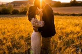 This Orcoyen, Spain engagement photo session was captured in a field at sunset.