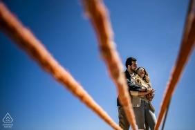 Reggio de Calabre photo d'engagement montrant les cordes d'un bateau