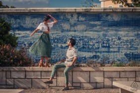Dancing in Lisbon during outdoor engagement shoot