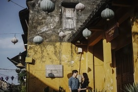 Engagement session picture was taken at Hoi An