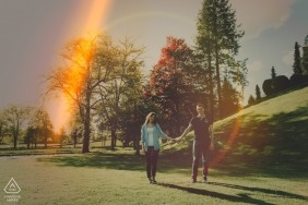 Gorenjska, Slovenia Engagement Shoot with Love and Lens Flares