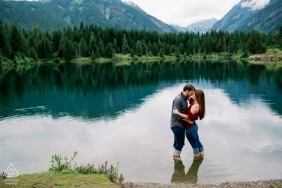 Gold Creek Pond WA couple portrait in a pond