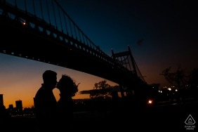 New York City - Astoria Park Sunset Engagement Portrait by the bridge