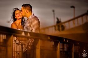 Gantry Plaza Park Engagement session - couple portrait in the sun