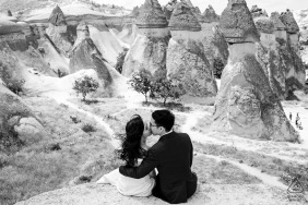 Cappodocia, Turkey Pre Wedding Portraits - lovers with a beautiful view