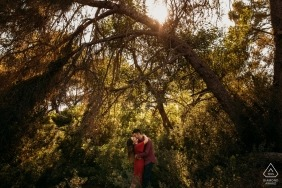Dehesa engagement shoot in the afternoon trees