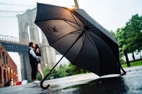 dumbo nyc portrait session - standing in the rain