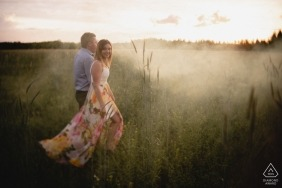 Csengele, Hungary Fog in the Fields during engagement picture session