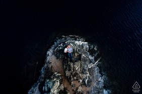Officers Gulch Engagement Session  - Photographed from the sky while laying on the rocks at Officers Gulch.
