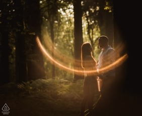 Blackwater Arboretum Engagement Photo of Couple in the Forest