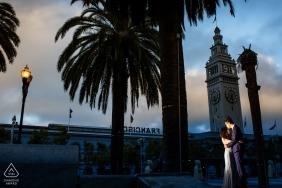 Retrato de compromiso de San Francisco al atardecer