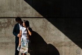 Old Montreal Pre Wedding Portait - Geometric engagement photo of couple in stark sunshine and shadow