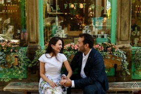 This newly engaged couple are still feeling excited after their proposal in Old Montreal - Canada Wedding Photography