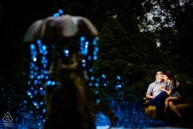 Sayen Gardens New Jersey Engagement Photographer: Last shot of the day, gelled the water, lit them, got the picture I wanted and clicked.