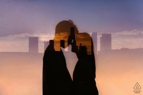Sessão de noivado no centro de Los Angeles, Califórnia - Cidade e cor (e casal!)