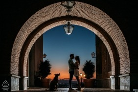 Murcia Spain engagement photo session with a dog at sunset