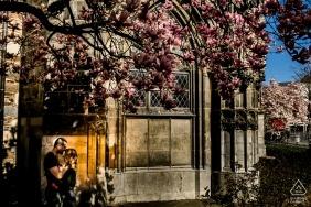 Aachen Town Hall, Aachen, Germany PreWedding Shoot - Couple hugging under the magnolia tree