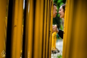 Singapore Engagement Portrait Shoot through barrier