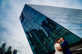 Singapore Engagement photos with tall city buildings