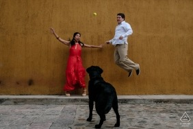 Oaxaca de Juarez engagement portrait session of a couple and a dog on the streets.