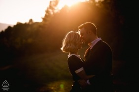 Saignon Luberon France Engagement portrait session in the afternoon sunlight