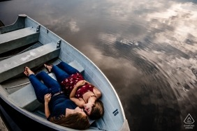 University of Delaware Portrait Session in a Small Boat on the Water.