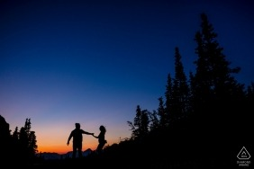 Sunset engagement session at Logan's Pass at Glacier National Park