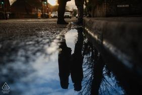 UK Wedding Photographer | Bristol engagement shoot with puddle reflections