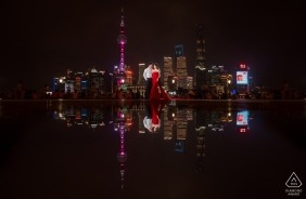 Shanghai City Reflections during Engagement Shoot with a Couple at Night