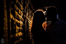 Toledo, Castilla-La Mancha (Spain) - Sunset loving couple shilouttes during engagement photo session