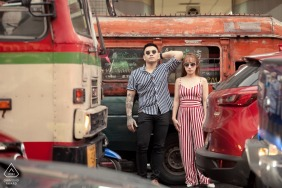 Thailand Wedding Photographer - Couple shooting in chinatown busy street, Bangkok - engagement photos